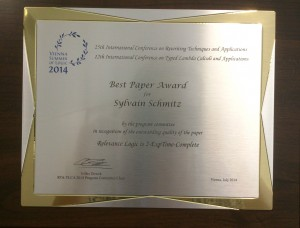 Best Paper Award at RTA-TLCA 2014